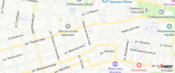 Ремесленный переулок на карте Майкопа с номерами домов