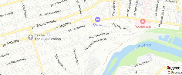 Средний переулок на карте Майкопа с номерами домов