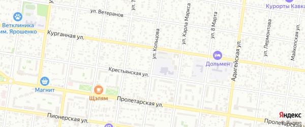Улица Кольцова на карте Майкопа с номерами домов
