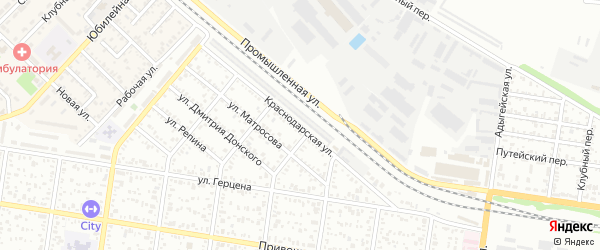 Краснодарская улица на карте Майкопа с номерами домов