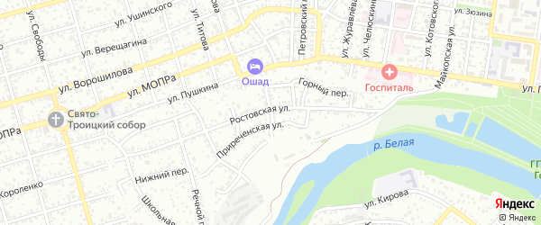 Широкий переулок на карте Майкопа с номерами домов