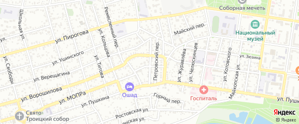 Переулок Гребенштейна на карте Майкопа с номерами домов