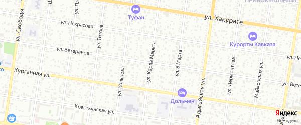 Улица Карла Маркса на карте Майкопа с номерами домов