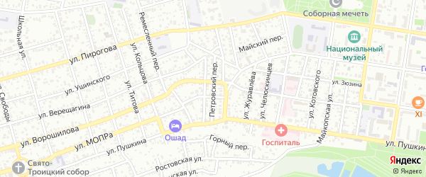Петровский переулок на карте Майкопа с номерами домов