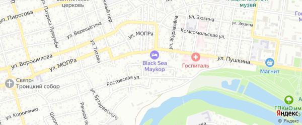 Горный переулок на карте Майкопа с номерами домов
