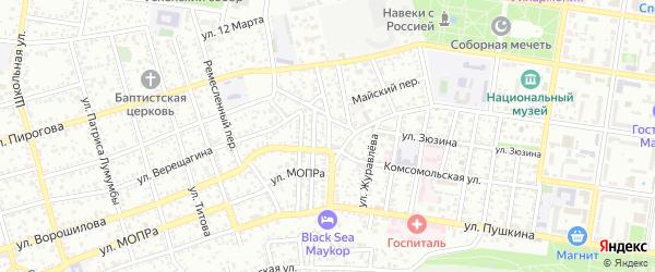 Старобазарная улица на карте Майкопа с номерами домов