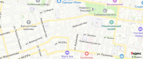 Улица Ломоносова на карте Майкопа с номерами домов