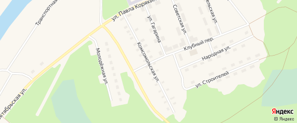 Комсомольская улица на карте поселка Волошки с номерами домов