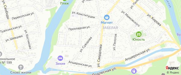 Улица Суворова на карте Майкопа с номерами домов