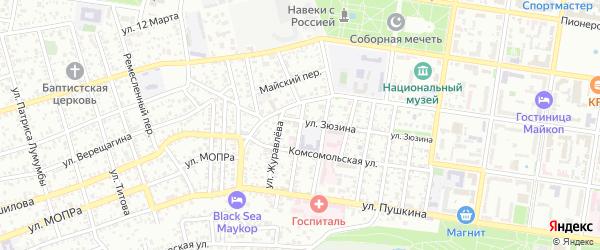 Улица Челюскинцев на карте Майкопа с номерами домов