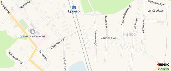 Железнодорожная улица на карте поселка Ерцево с номерами домов