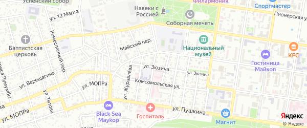 Красноармейский переулок на карте Майкопа с номерами домов