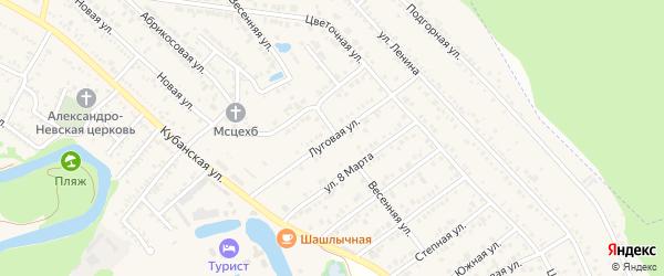 Луговая улица на карте садового некоммерческого товарищества Пищевика-1 с номерами домов