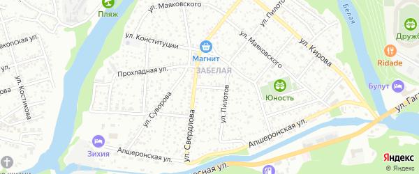 Улица Хмельницкого на карте Майкопа с номерами домов