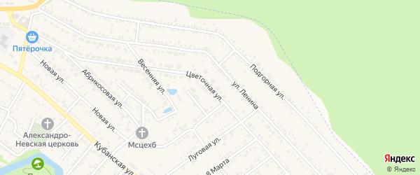 Цветочная улица на карте садового некоммерческого товарищества Текстильщика с номерами домов