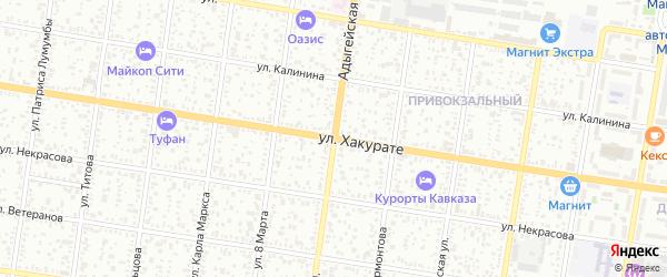 Адыгейская улица на карте Майкопа с номерами домов