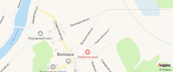 Больничная улица на карте поселка Волошки с номерами домов