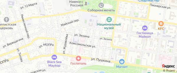 Улица Зюзина на карте Майкопа с номерами домов