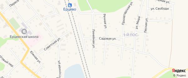Линейная улица на карте поселка Ерцево с номерами домов