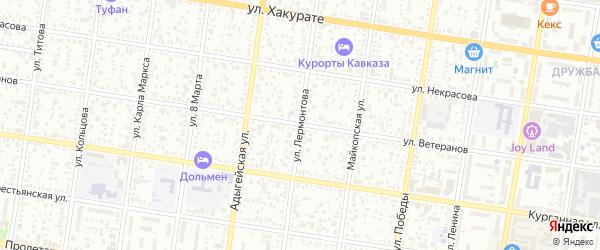 Улица Лермонтова на карте Майкопа с номерами домов