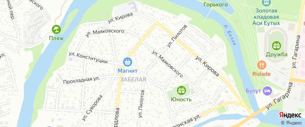 Улица Пилотов на карте Майкопа с номерами домов
