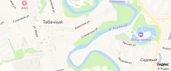 Солнечная улица на карте Приозерного садового некоммерческого товарищества с номерами домов