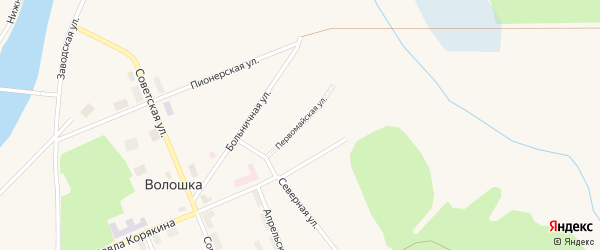 Первомайская улица на карте поселка Волошки с номерами домов