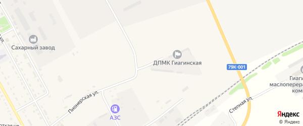 Пионерский переулок на карте Гиагинской станицы с номерами домов