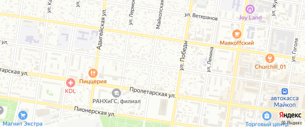 Майкопская улица на карте Майкопа с номерами домов