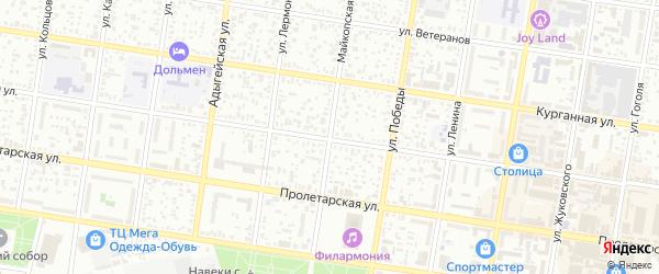 Майкопская улица на карте садового некоммерческого товарищества Яблоньки с номерами домов