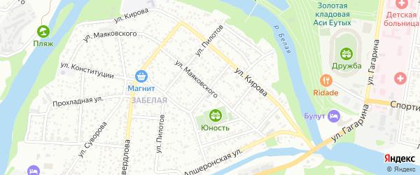 Луговой переулок на карте Майкопа с номерами домов