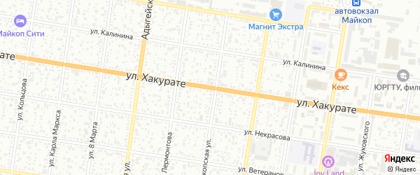 Улица Хакурате на карте Майкопа с номерами домов