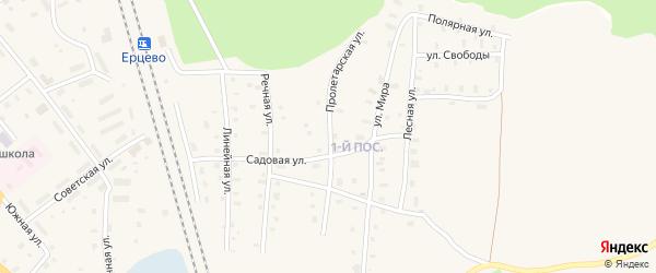 Пролетарская улица на карте поселка Ерцево с номерами домов