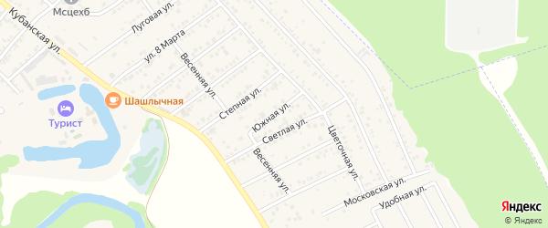 Южная улица на карте садового некоммерческого товарищества Машиностроителя с номерами домов