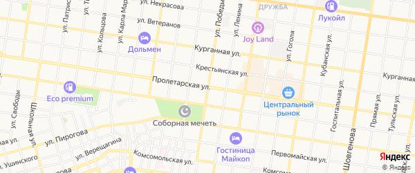 Карта Южного садового некоммерческого товарищества города Майкопа в Адыгее с улицами и номерами домов