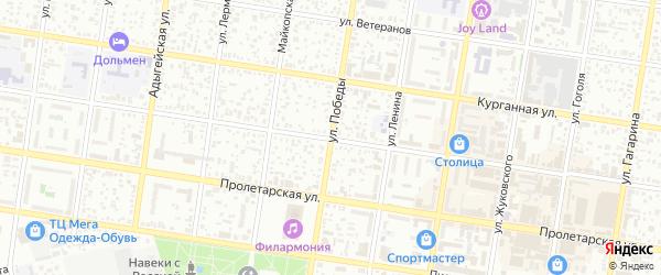 Улица Победы на карте Майкопа с номерами домов