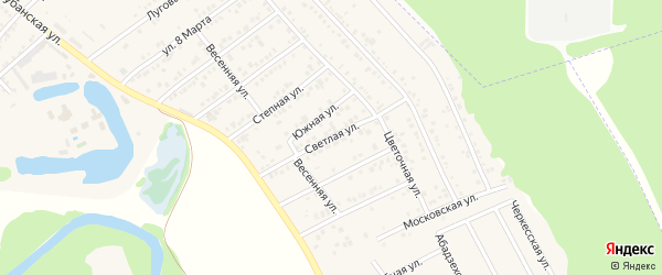 Светлая улица на карте Краснооктябрьского поселка с номерами домов