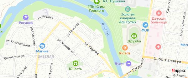Белый переулок на карте Майкопа с номерами домов