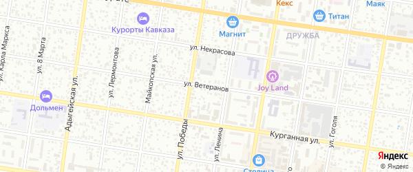 Улица Ветеранов на карте Ханской станицы с номерами домов