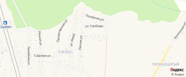 Пионерская улица на карте поселка Ерцево с номерами домов