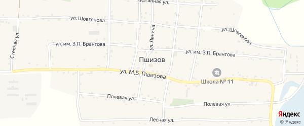 Улица Шовгенова на карте аула Пшизова с номерами домов