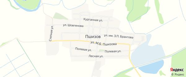 Карта аула Пшизова в Адыгее с улицами и номерами домов