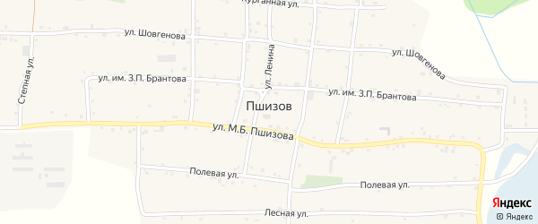 Улица М.Б.Пшизова на карте аула Пшизова с номерами домов