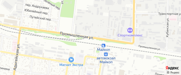 Промышленная улица на карте Майкопа с номерами домов