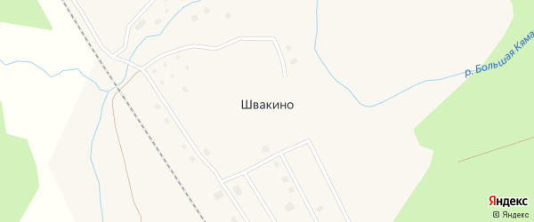 Центральная улица на карте поселка Швакино с номерами домов