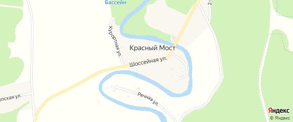 Шоссейная улица на карте хутора Красного Моста с номерами домов