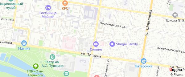 Комсомольская улица на карте Майкопа с номерами домов