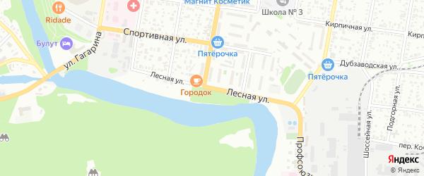 Лесная улица на карте садового некоммерческого товарищества Строителя с номерами домов