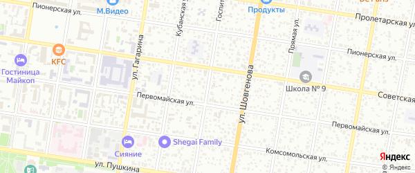 Госпитальная улица на карте Майкопа с номерами домов