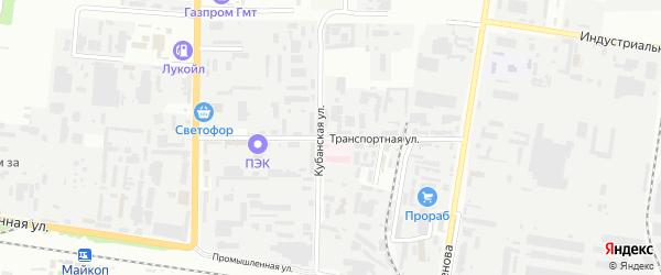 Транспортная улица на карте Майкопа с номерами домов